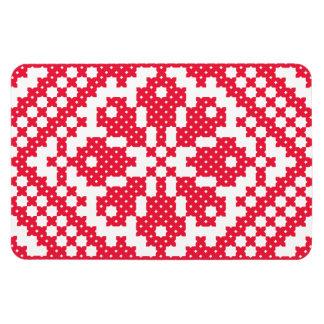 Modelo rojo del ruso del punto de cruz imán foto rectangular