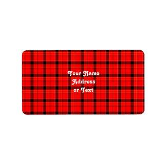 Modelo rojo del tartán de la tela escocesa etiquetas de dirección