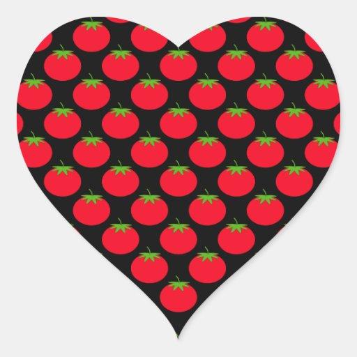 Modelo rojo del tomate pegatina de corazón personalizadas