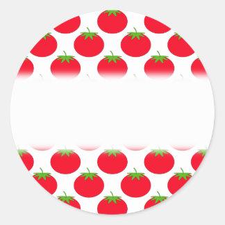Modelo rojo del tomate pegatina redonda