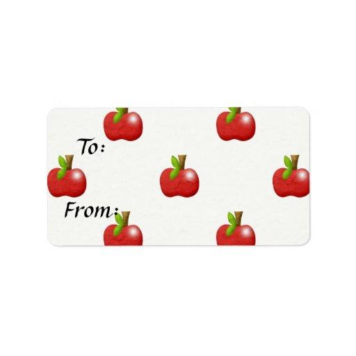modelo rojo delicioso de las manzanas etiquetas de dirección
