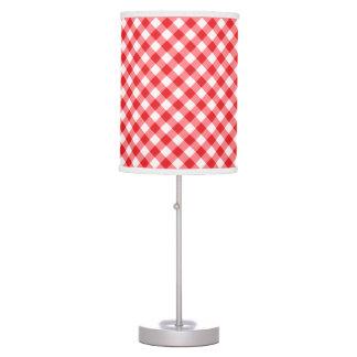 Modelo rojo, diagonal de la guinga lámpara de escritorio