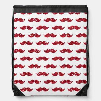 Modelo rojo divertido del bigote del brillo impres mochilas