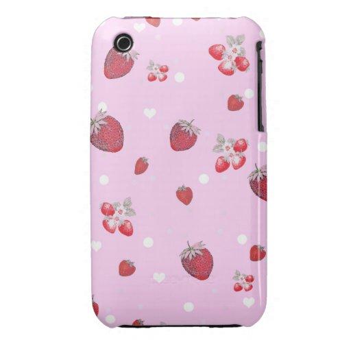 Modelo rojo lindo de la fruta de las fresas de los iPhone 3 Case-Mate carcasas