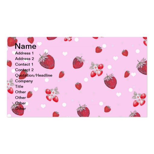 Modelo rojo lindo de la fruta de las fresas de los plantillas de tarjetas de visita