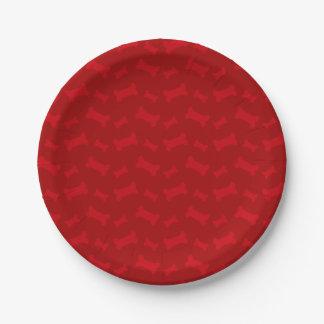 Modelo rojo lindo de los huesos de perro plato de papel de 7 pulgadas