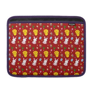Modelo rojo lindo de pascua de la cesta del huevo  fundas macbook air
