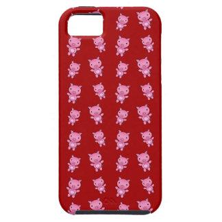 Modelo rojo lindo del cerdo iPhone 5 protectores