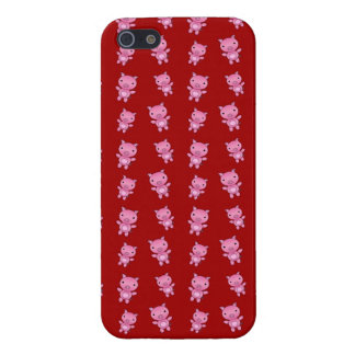 Modelo rojo lindo del cerdo iPhone 5 cárcasas