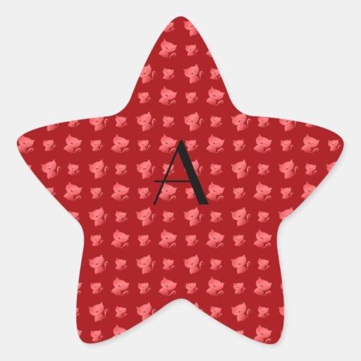 Modelo rojo lindo del gato del monograma calcomanía forma de estrella personalizada