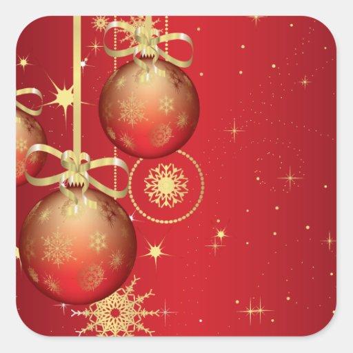 Modelo rojo lindo del navidad del ornamento del pegatina cuadrada