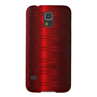 Modelo rojo metálico de las rayas de Monogramed Carcasas De Galaxy S5