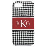 Modelo rojo oscuro blanco negro de Houndstooth iPhone 5 Case-Mate Cárcasas