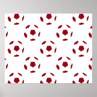 Modelo rojo oscuro del balón de fútbol póster