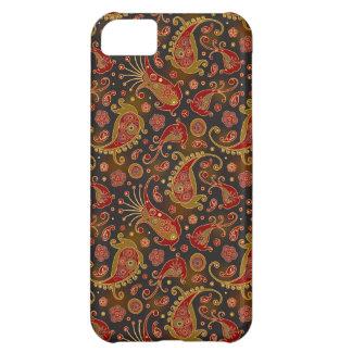 Modelo rojo oscuro y del oro de Paisley Carcasa Para iPhone 5C