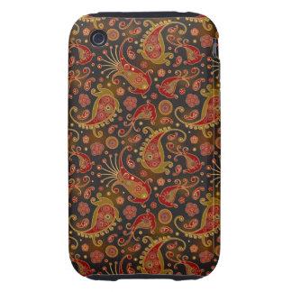 Modelo rojo oscuro y del oro de Paisley iPhone 3 Tough Coberturas