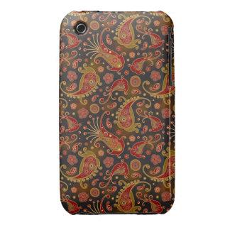 Modelo rojo oscuro y del oro de Paisley iPhone 3 Case-Mate Cobertura