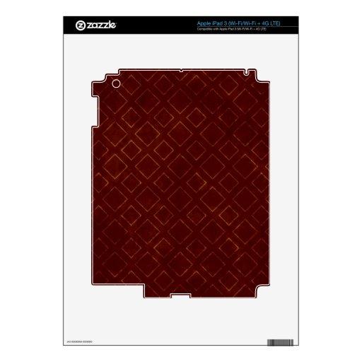 Modelo rojo oscuro y del oro del diamante pegatinas skins para iPad 3