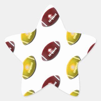 Modelo rojo oscuro y del oro del fútbol pegatina en forma de estrella