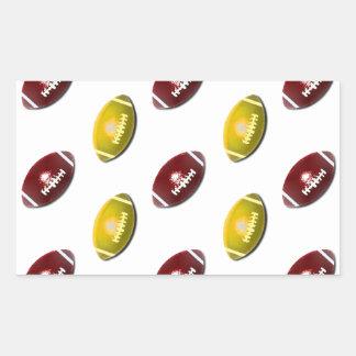 Modelo rojo oscuro y del oro del fútbol pegatina rectangular