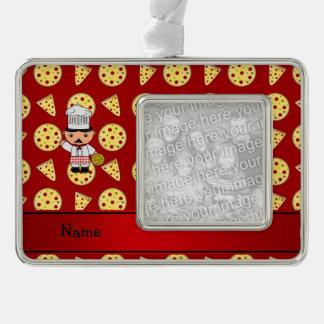 Modelo rojo personalizado de la pizza del cocinero