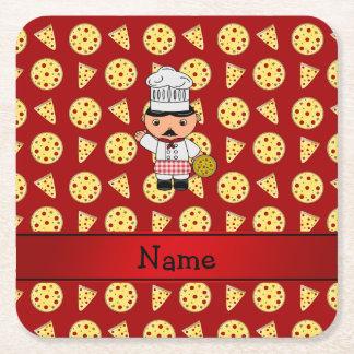 Modelo rojo personalizado de la pizza del cocinero posavasos desechable cuadrado
