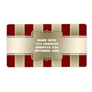 Modelo rojo personalizado de las rayas del brillo etiqueta de envío