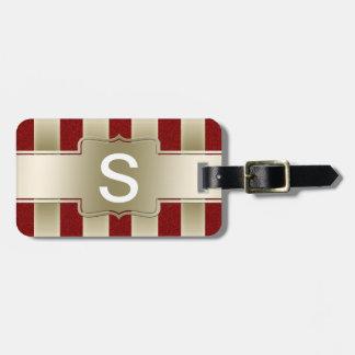 Modelo rojo personalizado de las rayas del brillo  etiquetas maletas