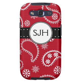 Modelo rojo personalizado de Paisley Samsung Galaxy SIII Funda