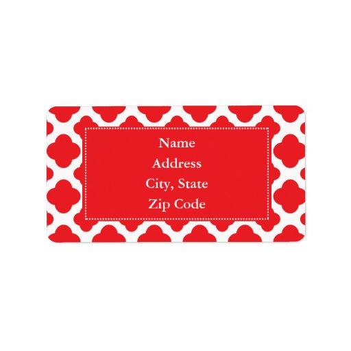 Modelo rojo personalizado de Quatrefoil Etiquetas De Dirección