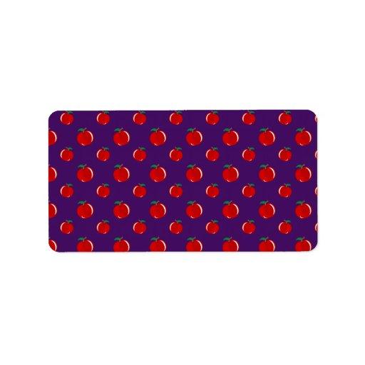 Modelo rojo púrpura de la manzana etiquetas de dirección