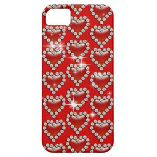 Modelo rojo romántico del corazón funda para iPhone SE/5/5s