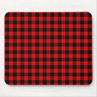 Modelo rojo tradicional de la tela escocesa del mouse pads
