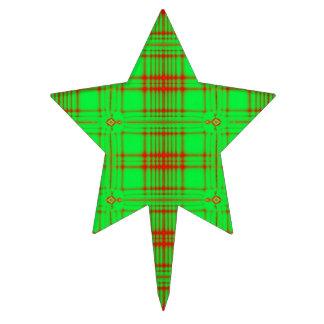 Modelo rojo verde claro de la tela escocesa del na figuras de tarta