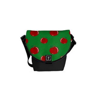 Modelo rojo verde de la manzana bolsas messenger