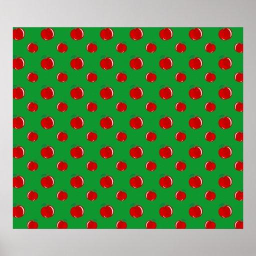 Modelo rojo verde de la manzana impresiones