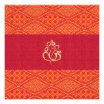Modelo rojo y anaranjado del boda indio del batik comunicado personal