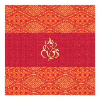 Modelo rojo y anaranjado del boda indio del batik invitación 13,3 cm x 13,3cm