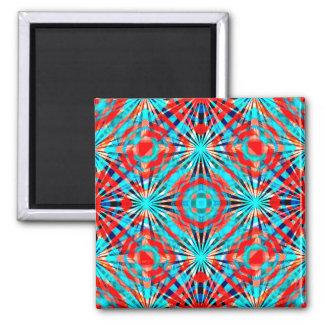 Modelo rojo y azul abstracto imán cuadrado