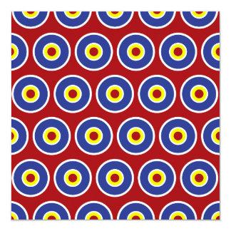 """Modelo rojo y azul de la diana de los círculos invitación 5.25"""" x 5.25"""""""