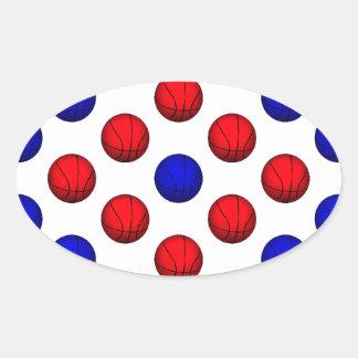 Modelo rojo y azul del baloncesto pegatina ovalada