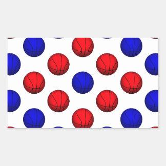 Modelo rojo y azul del baloncesto pegatina rectangular