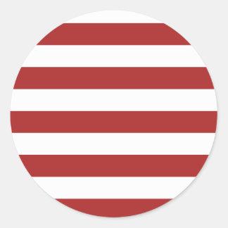 Modelo rojo y blanco básico de las rayas pegatina redonda