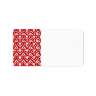 Modelo rojo y blanco brillante del damasco etiqueta de dirección