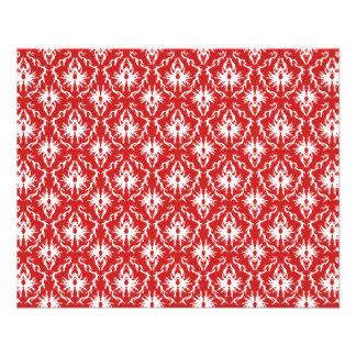 Modelo rojo y blanco brillante del damasco tarjetón