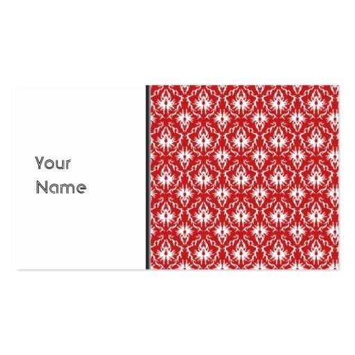 Modelo rojo y blanco brillante del damasco tarjeta de negocio