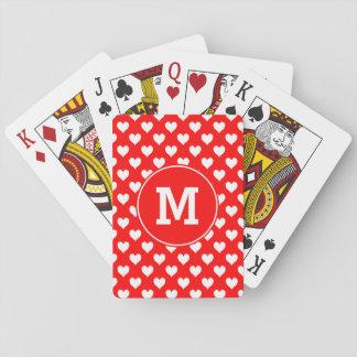 Modelo rojo y blanco con monograma del corazón cartas de póquer