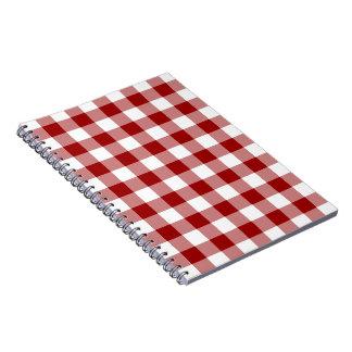 Modelo rojo y blanco de la guinga libro de apuntes con espiral