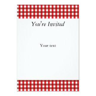 """Modelo rojo y blanco de la guinga invitación 5"""" x 7"""""""