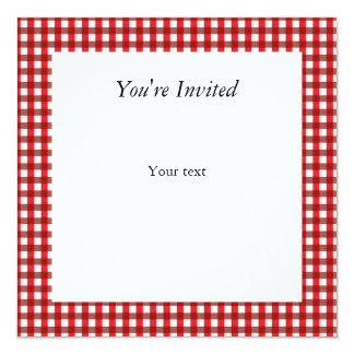 """Modelo rojo y blanco de la guinga invitación 5.25"""" x 5.25"""""""